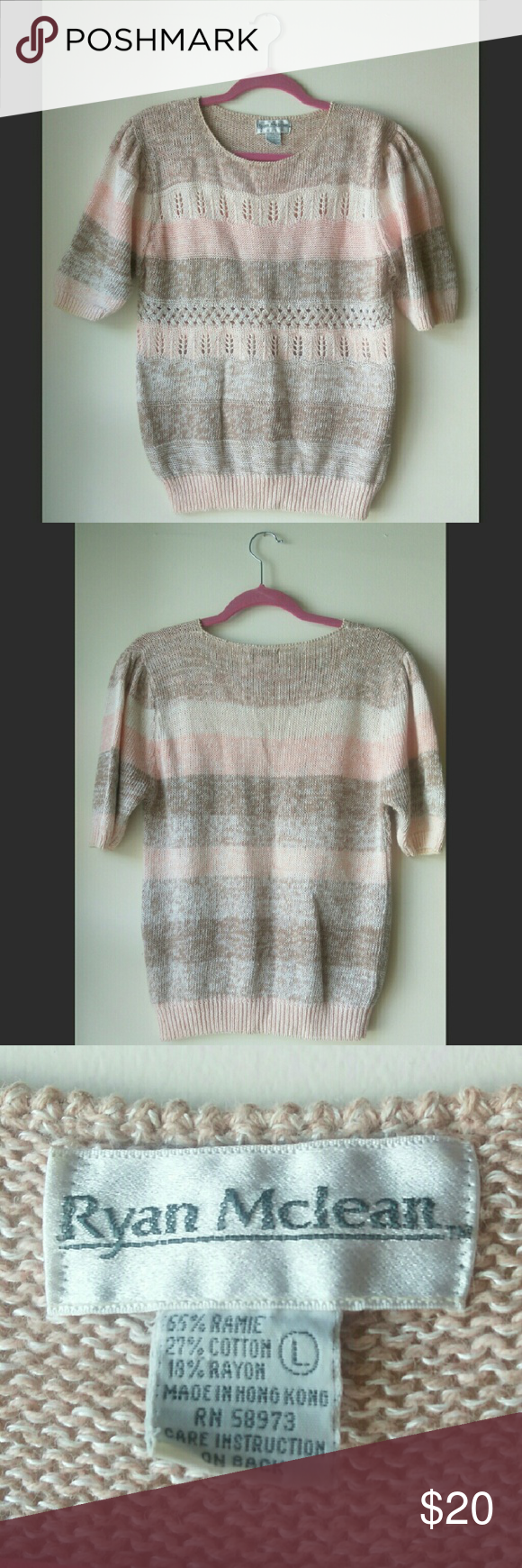 ? Vintage Short Sleeve Sweater Soft taupe with creamy