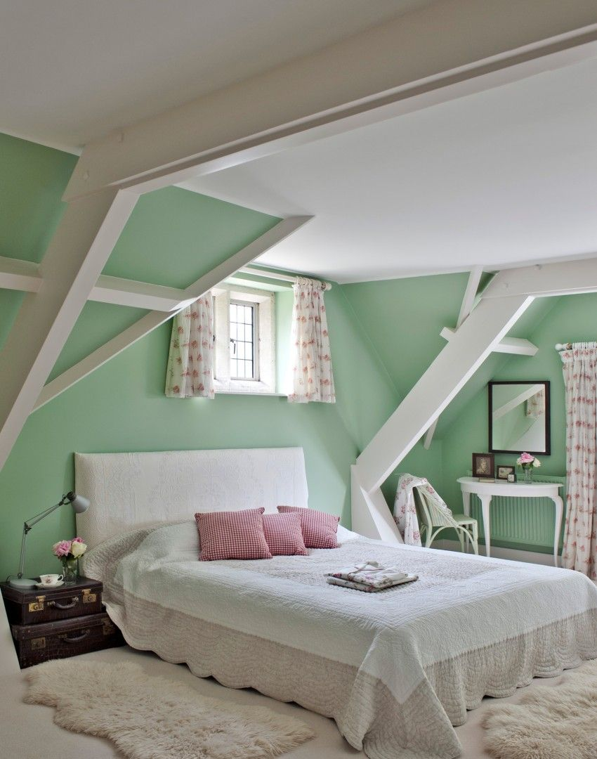 Mint Green Walls Work So Well In This Traditional Bedroom