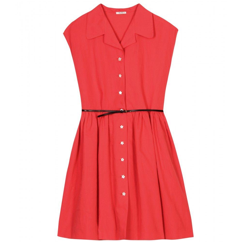 38b2c432a20 mytheresa.com - Miu Miu - SHIRT DRESS WITH STAR BUTTONS - Luxury Fashion  for Women   Designer clothing, shoes, bags