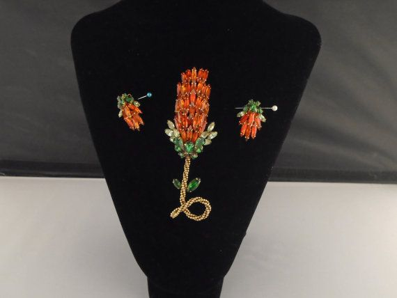Weiss Orange/Green Floral Rhinestone Brooch and Earring Set Vintage 1950's on Etsy by aardvarkcollectibles. Explore more products on http://aardvarkcollectibles.etsy.com