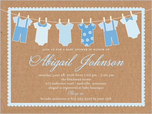 Clothes Line Boy 4x5 Greeting Card | Baby Shower Invitations | Shutterfly