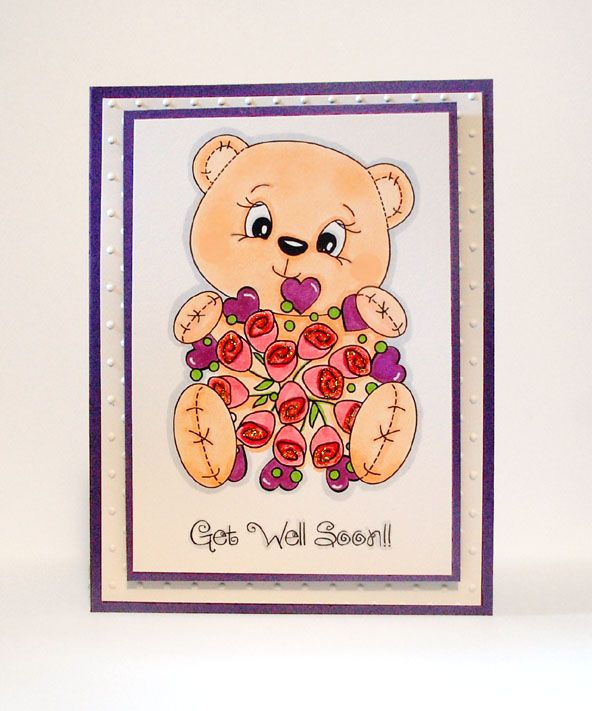 PK-158 Get Well Bear: Peachy Keen Stamps   Home of the original clear, peach-tinted, high-quality whimsical face stamps.