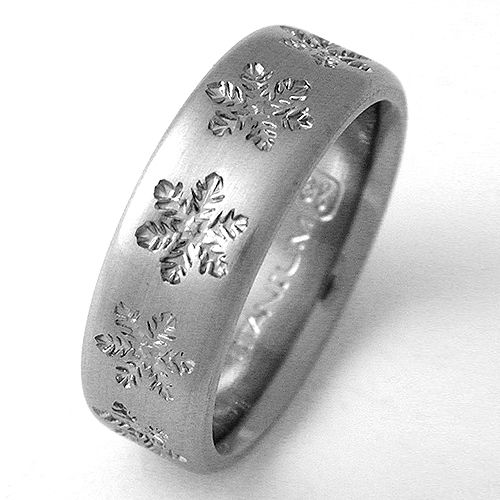 Estes 1 titanium ring with snowflakes Titanium wedding rings