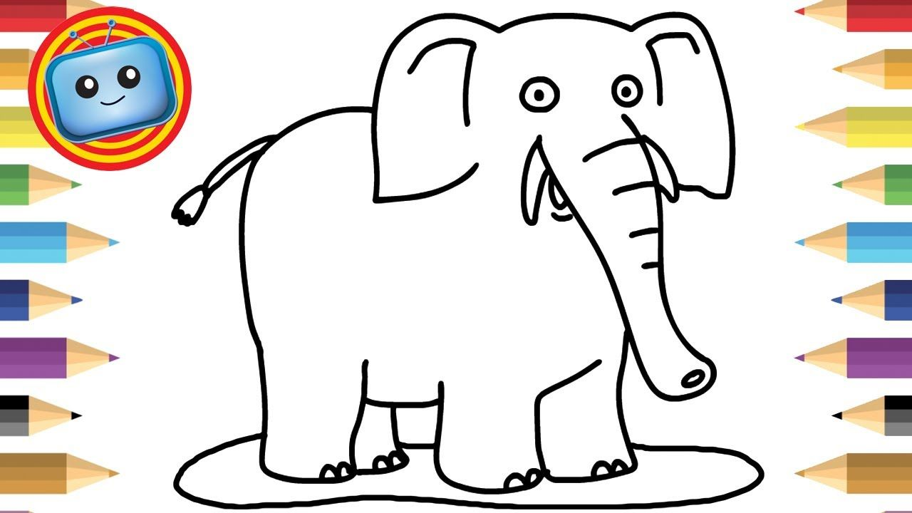 How to Draw an Elephant | Colouring Book | Simple Drawing Game ...