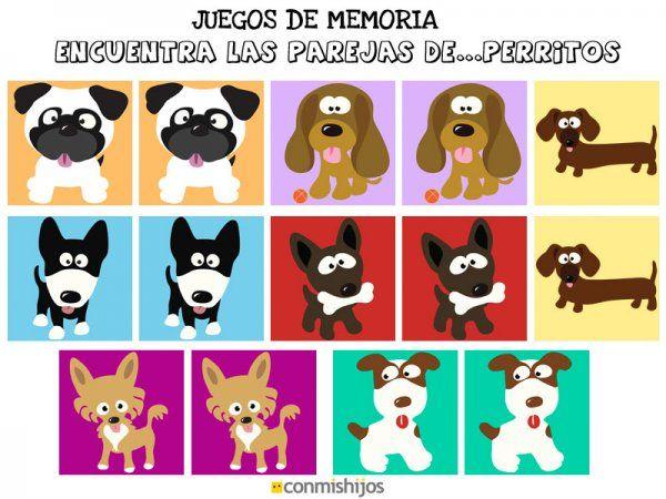 Uegos De Memoria Encuentra Las Parejas De Perritos Jpg Juegos De Memoria Juegos Perros Perros Para Niños