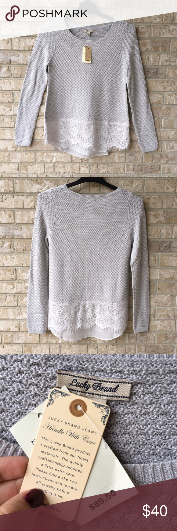 NWT Lucky Brand Gray Lace Contrast Sweater Top M Brand new with tags. Perfect to wear with boots and jeans! Price is firm. Happy poshing! :) Lucky Brand Tops Blouses