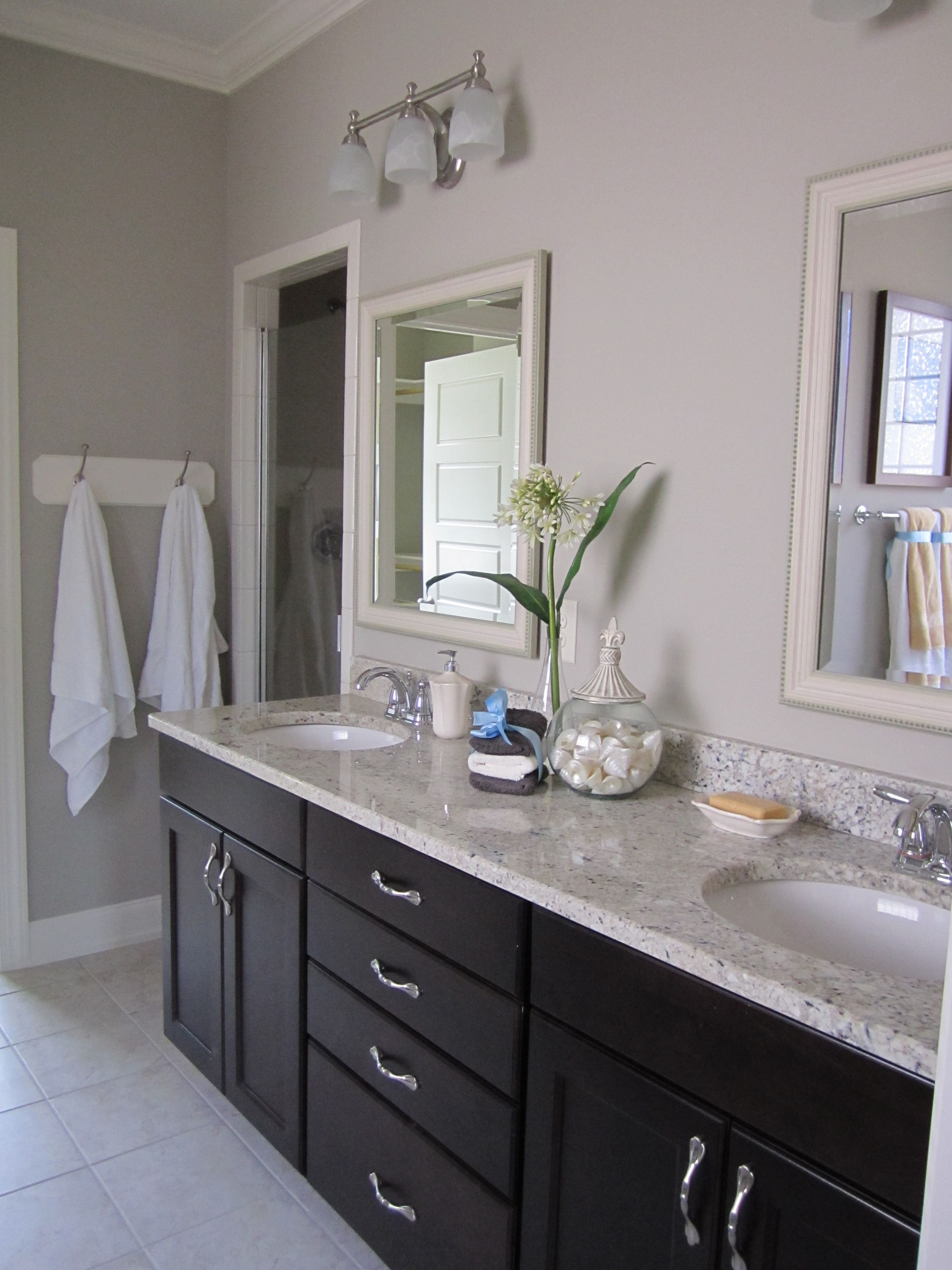 Wall Cabinets For Bathrooms Dark Cabinets Light Countertop White Door Frame And Kickboards
