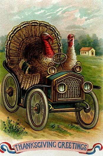 Two turkeys out for a Sunday drive, unlikely! It is probable that these guys know what's coming and are leaving town in their classic automobile. The sender of the vintage postcard is obviously the on