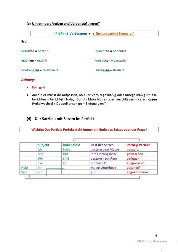 Το τέλειο - φύλλο κανόνων | Alemão - verbs | Pinterest ...