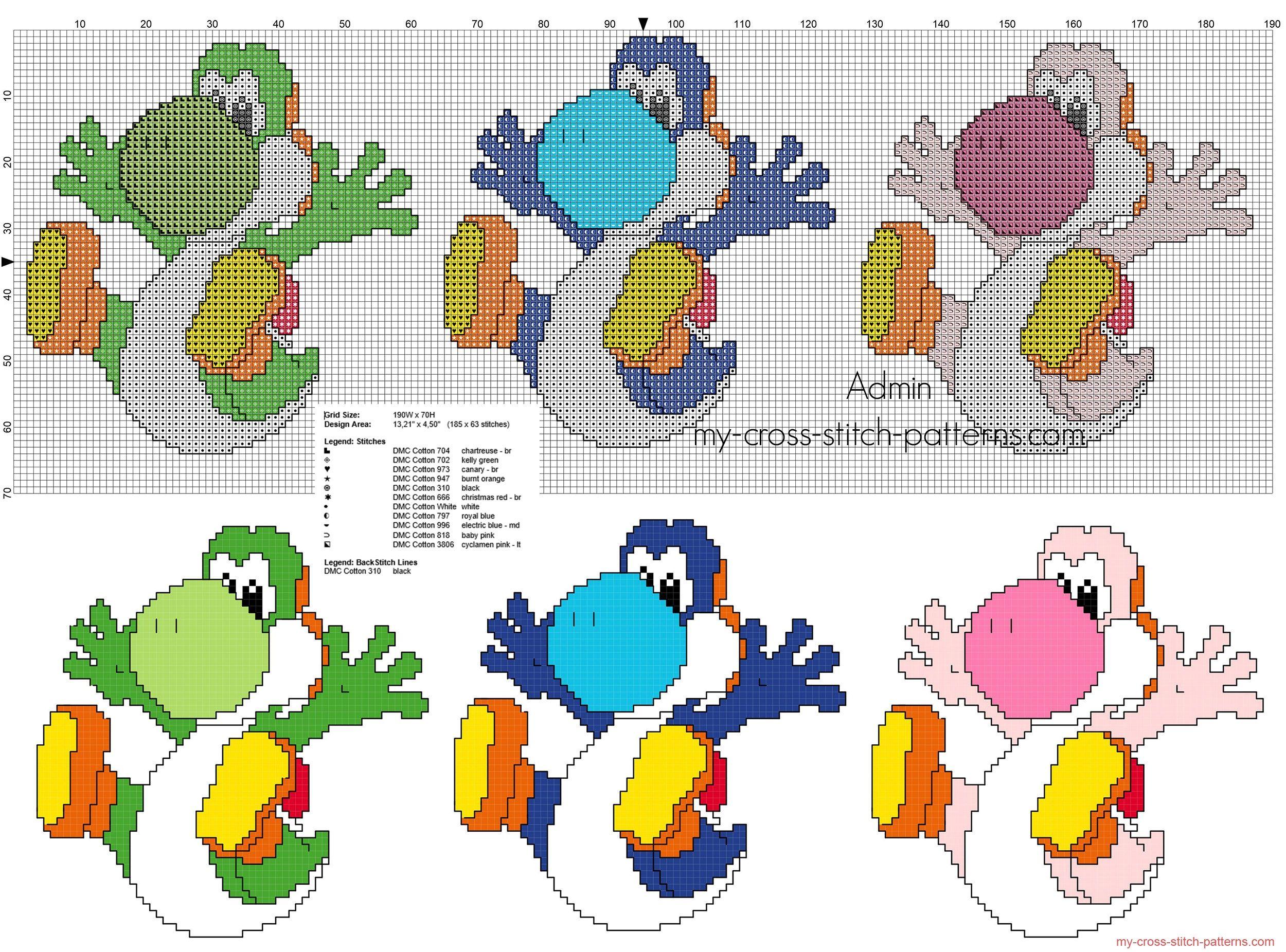Trois dinosaures colorés Super Mario Yoshi grilles point de croix ...