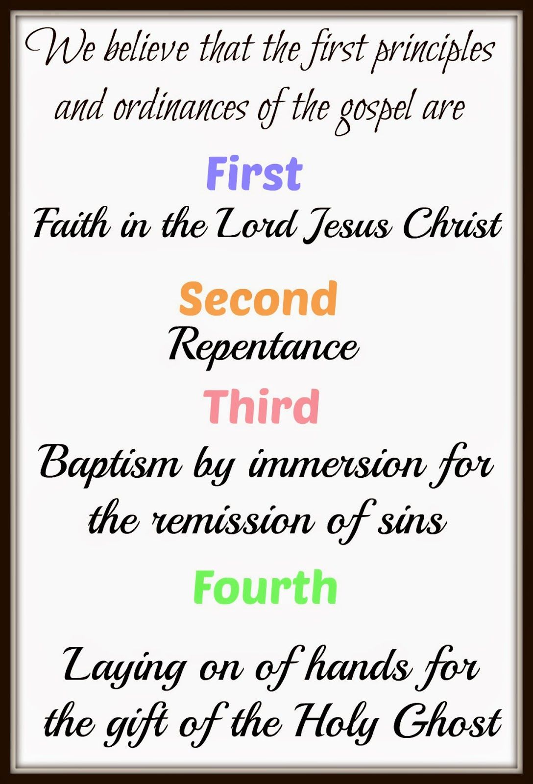 Lds Articles Of Faith Series No 4 Laying On Of Hands
