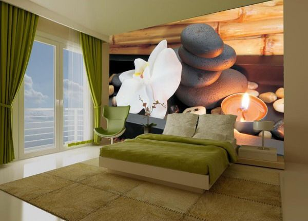beautiful orchid and stone for zen bedroom murals - best wall