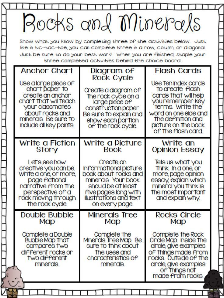 Free rocks and minerals choice board required printables included free rocks and minerals choice board required printables included ccuart