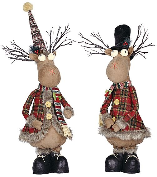 Telescoping Christmas Moose Figurine - Set of Two Click on the - moose christmas decorations