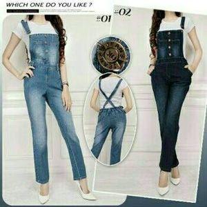 Jual Overall Jeans Celana Kodok Jumpsuit Panjang Streach Wanita