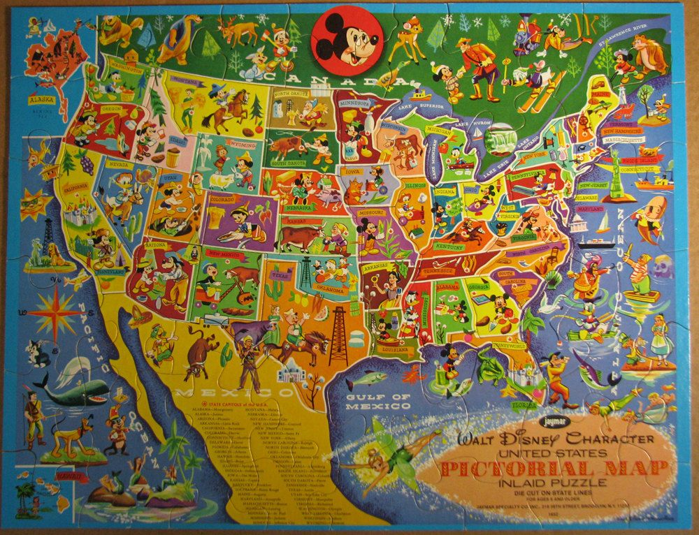 Walt Disney Jigsaw Map of the USA