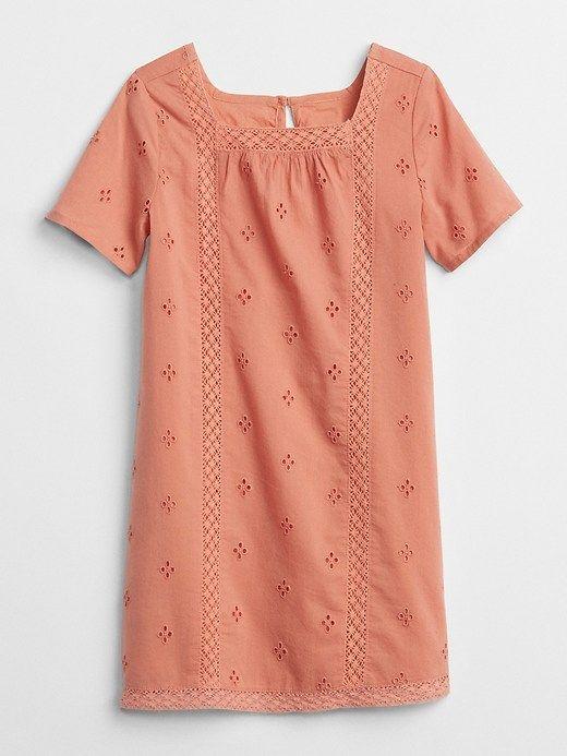 644761a1d9b3 Gap Baby Embroidered Squareneck Shift Dress Sunburn Orange Toddler Skirt