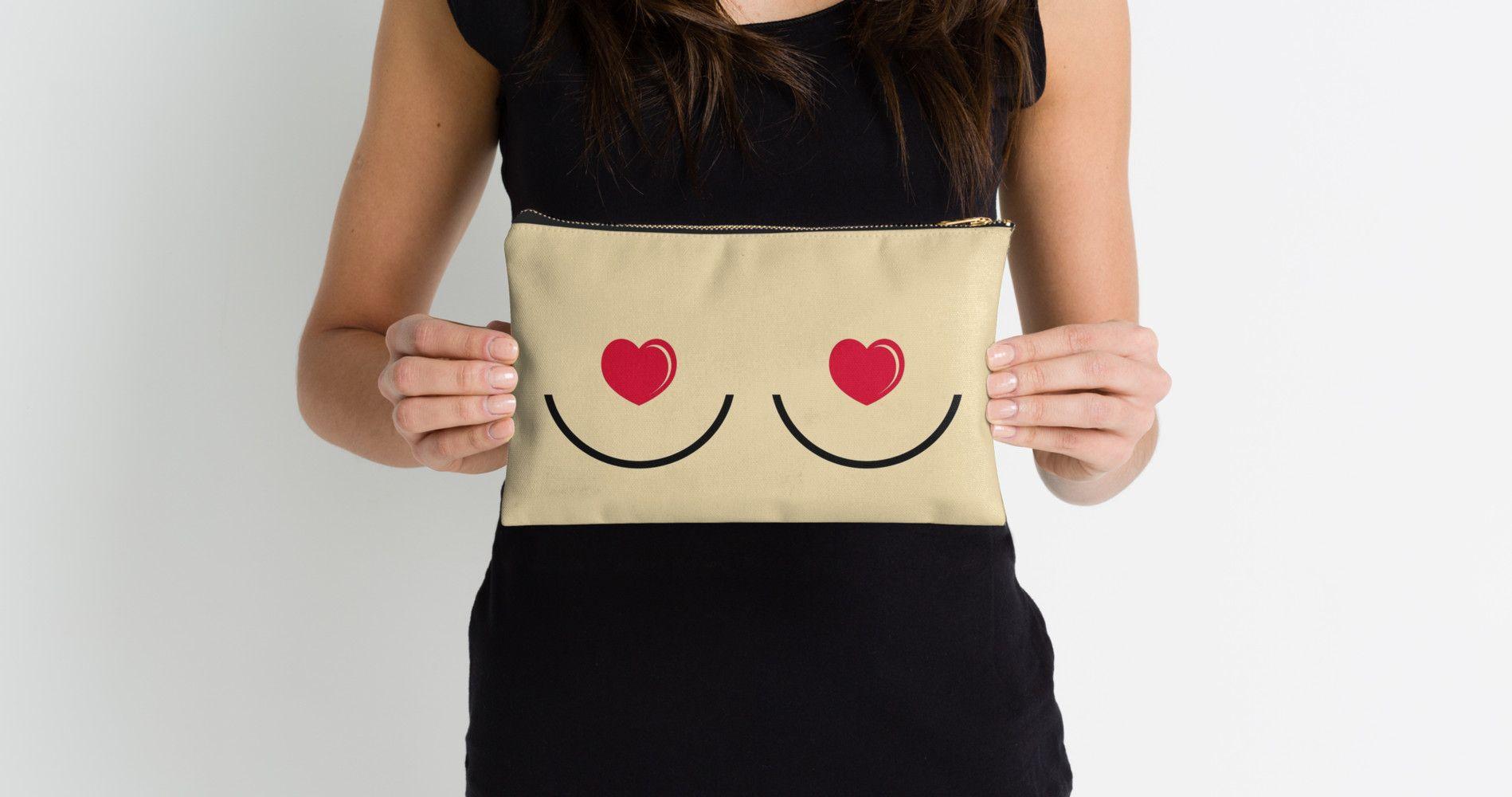 """Heartit"" Studio Pouches by xxxJxxx   Redbubble   heart, boob, tit, feminist, pastie, cute, breast"