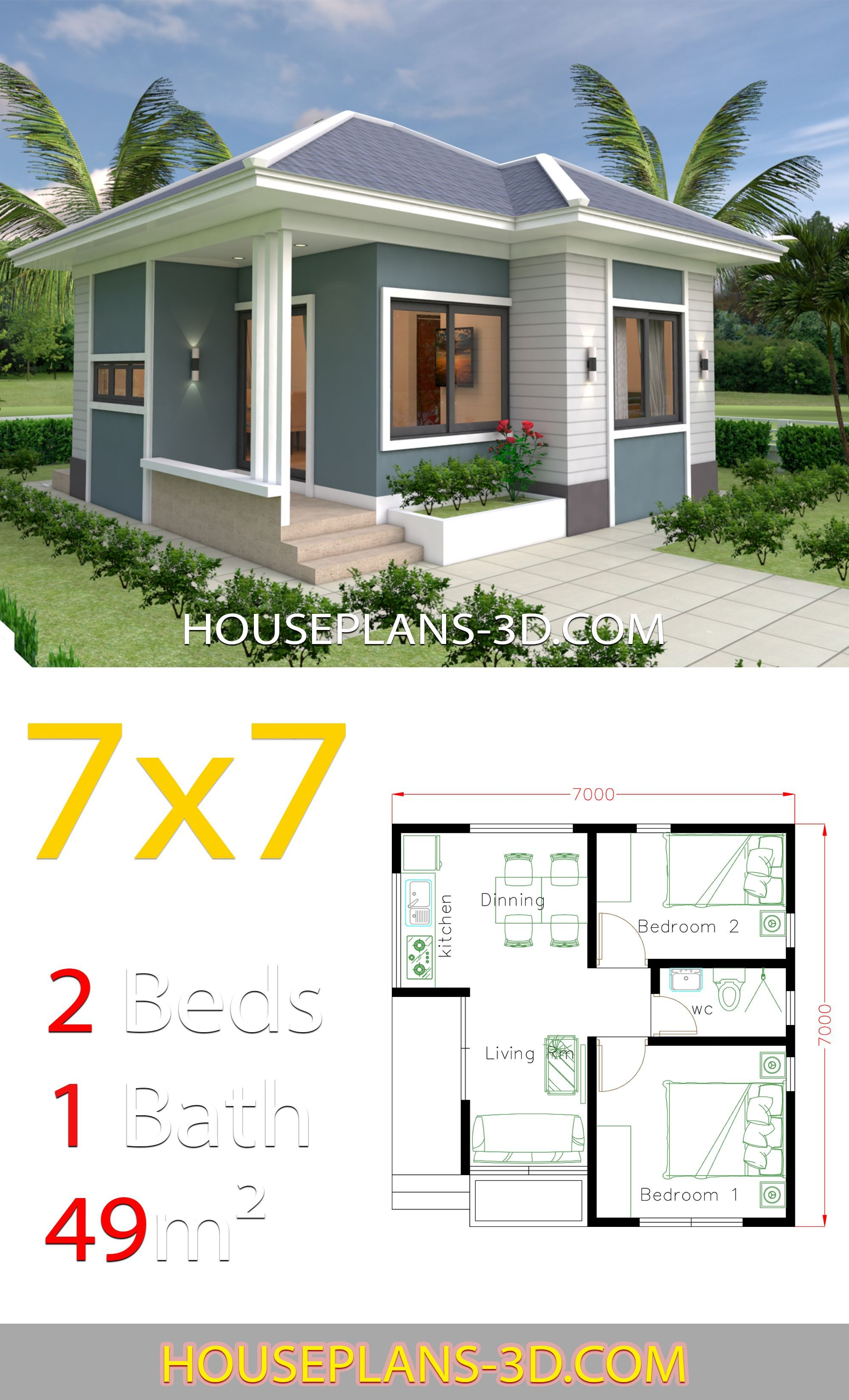 House Design 7x7 With 2 Bedrooms Full Plans House Plans 3d Small House Layout Small House Design Plans Small House Design