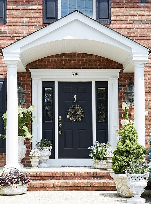 7 Simple Ways To Give Your Home Serious Curb Appeal Brick House Front Door Colors Red Brick House Exterior Facade House