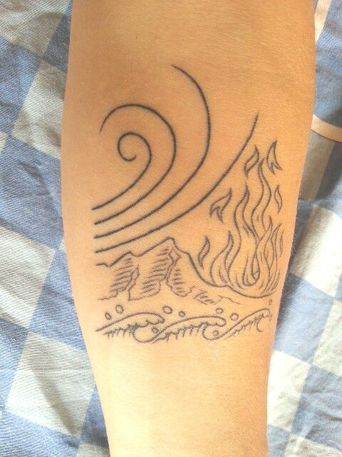 Simona 39 s tattoo earth water wind and fire four elements - Tatouage 4 elements ...