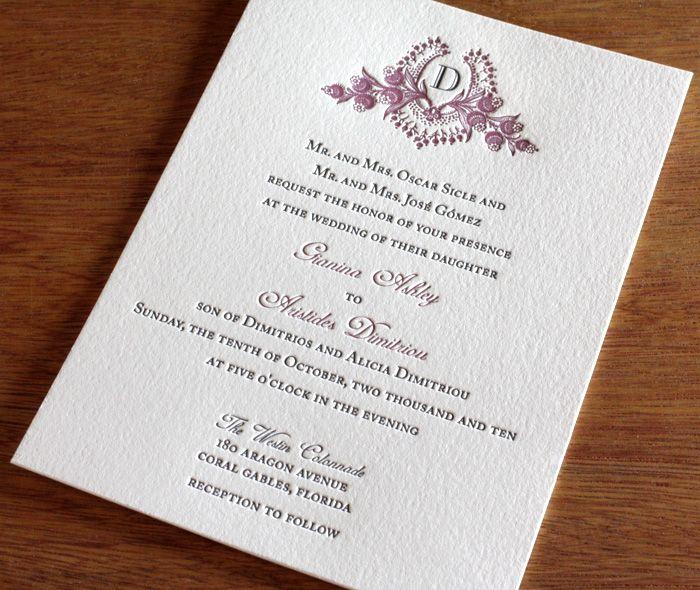Cathryn letterpress wedding invitation design with monogram