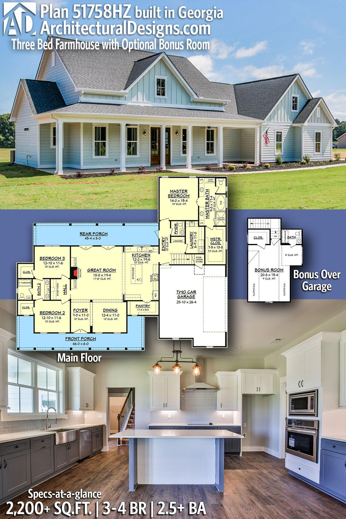 Plan 51758HZ Three Bed Farmhouse with Optional