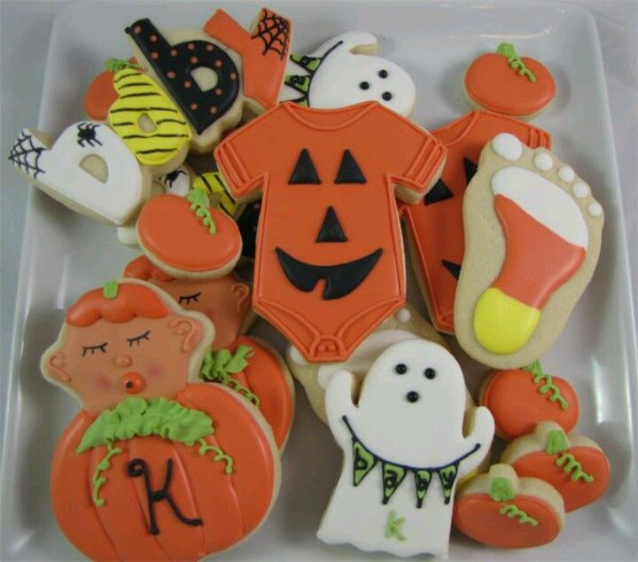 Halloween Themed Baby Shower Cookies.Halloween Baby Shower Halloween Themed Baby Shower I Think Yes