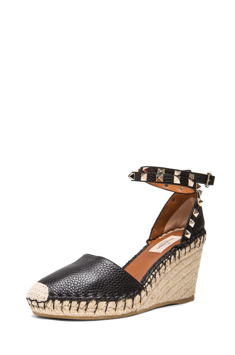 a4ef71a5644 VALENTINO ROCKSTUD DOUBLE ESPADRILLE LEATHER WEDGES