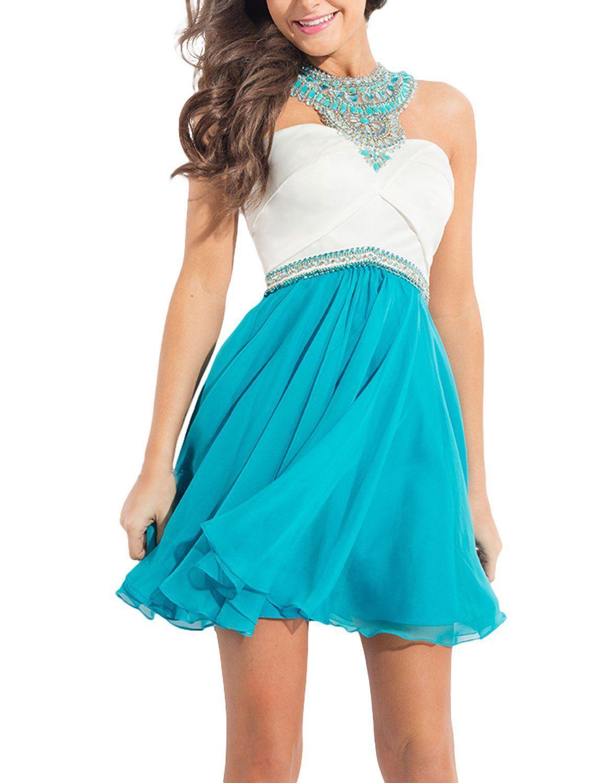Seasonmall womenus homecoming dresses chiffon with beading
