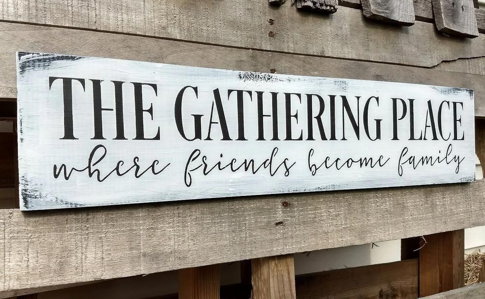 24 Large Farmhouse Wood Sign The Gathering Place Kitchen Rustic Wood Sign In 2020 Farmhouse Kitchen Signs Rustic Wood Signs Farmhouse Wood Sign
