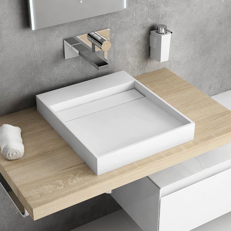Vasque à poser en résine 40x45 à 60x45cm, Mineral - Meuble Vasque A Poser Salle De Bain