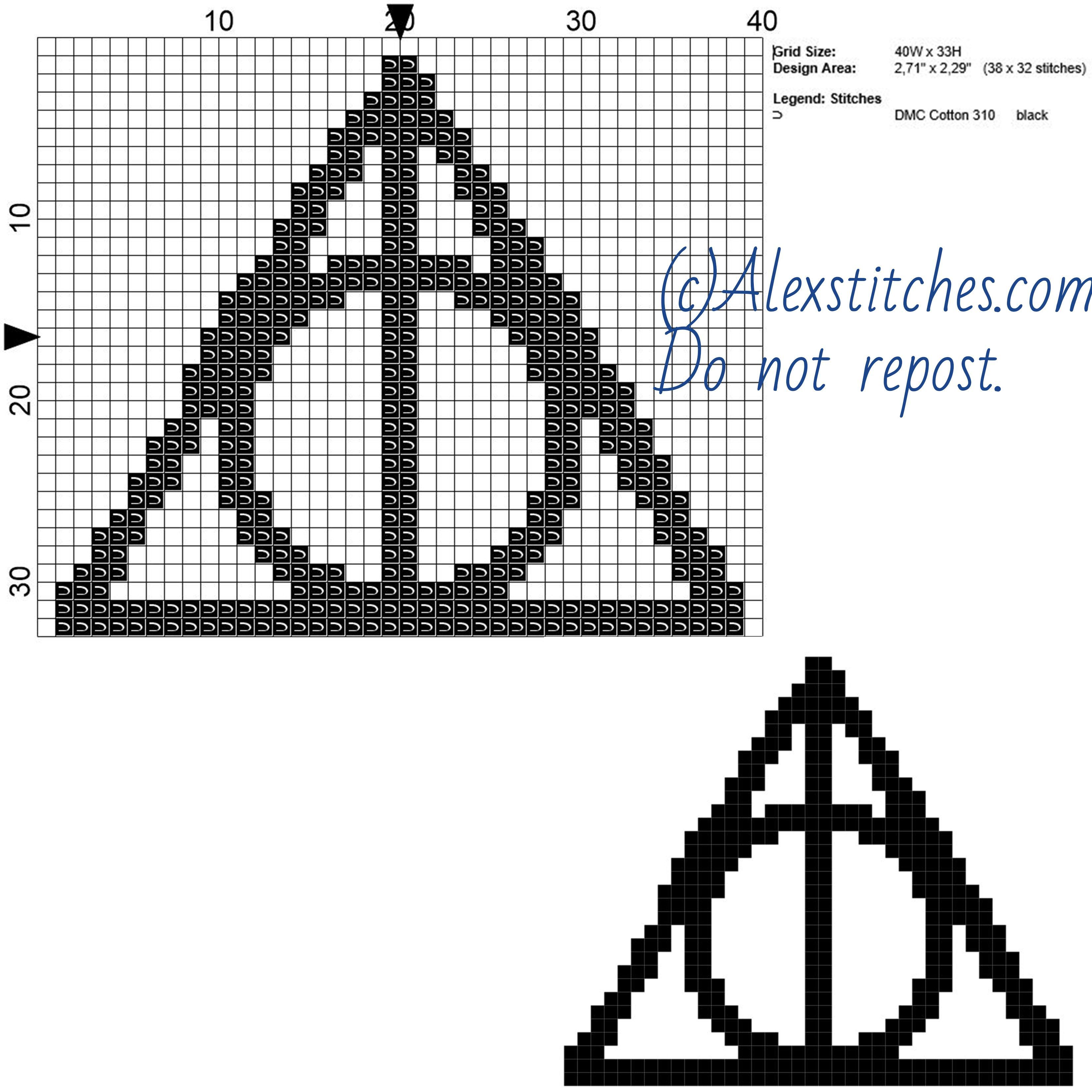 Harry Potter Deathly Hallows Symbol Free Cross Stitch Pattern 40x33 1 Co Harry Potter Cross Stitch Pattern Cross Stitch Patterns Free Cross Stitch Harry Potter