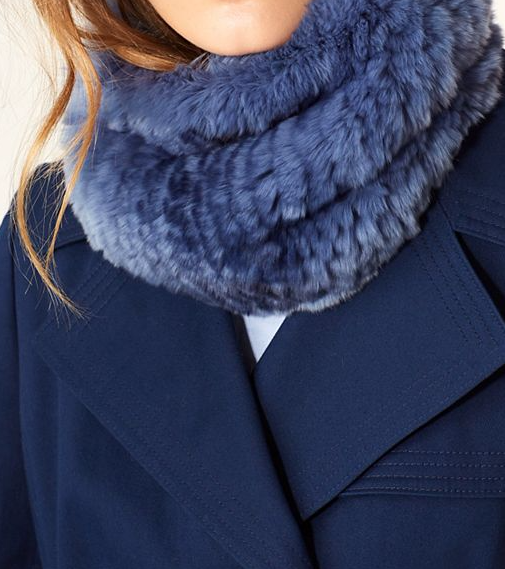 blue fur scarf