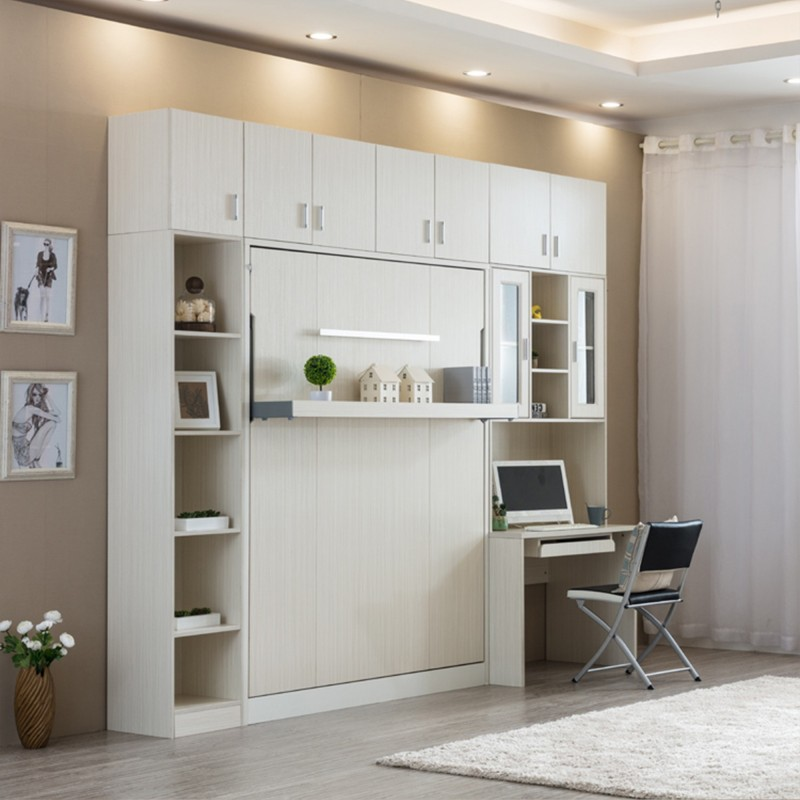 Shelf + Queen Vertical Hidden Wall Bed, Space Saving