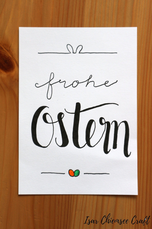 Frohe Ostern Lettering Idee   Karten basteln ostern, Ostern ...