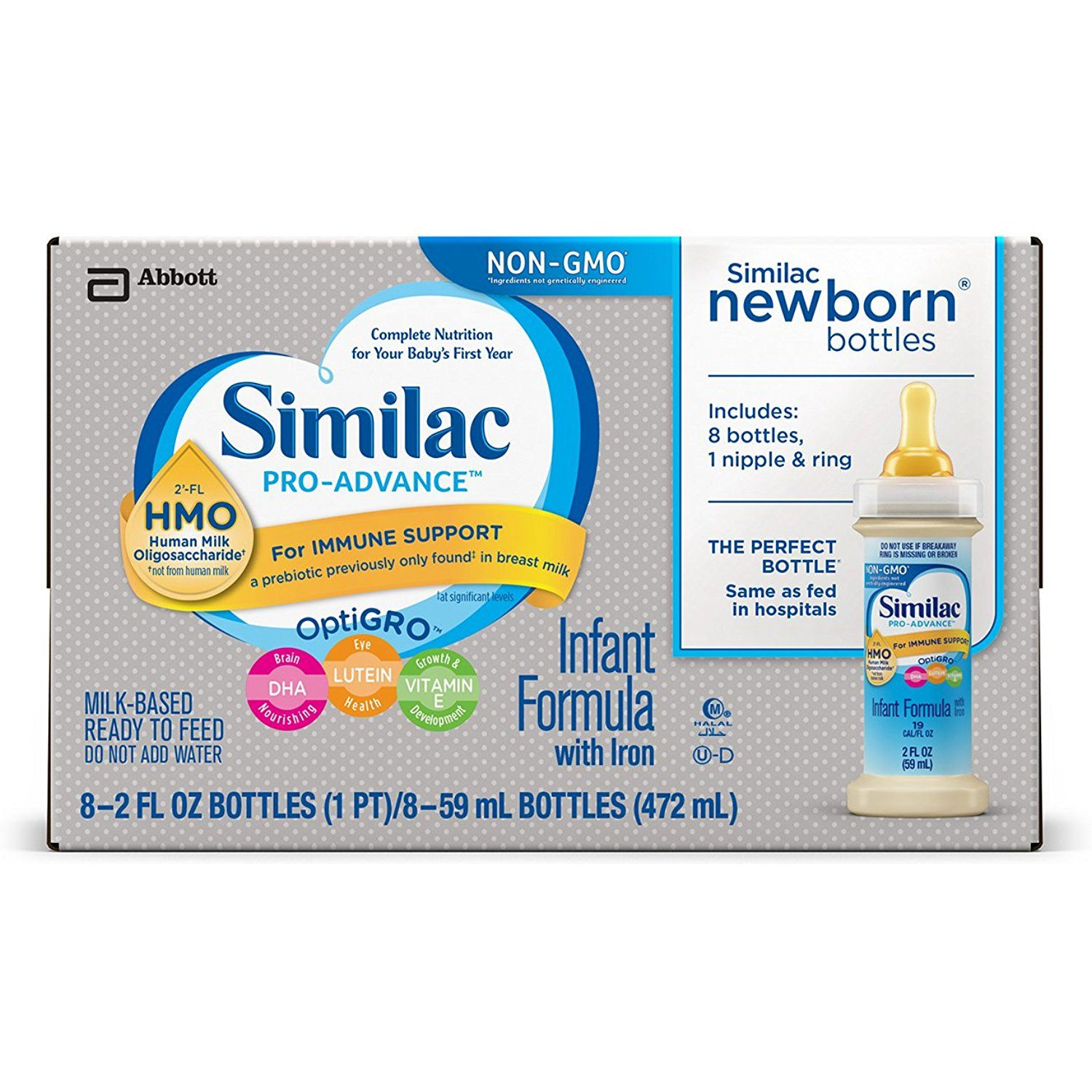 Similac Pro Advance Infant Formula With 2a Fl Hmo For Immune Support Ready To Feed Newborn Bottles 2 Fl Oz 8 Bottl Newborn Bottles Baby Formula Human Milk