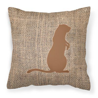 Carolines Treasures Meerkat Burlap Square Decorative Outdoor Pillow - BB1118-BL-BN-PW1414