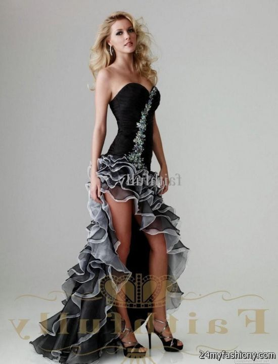 Black and Gold High Low Prom Dresses