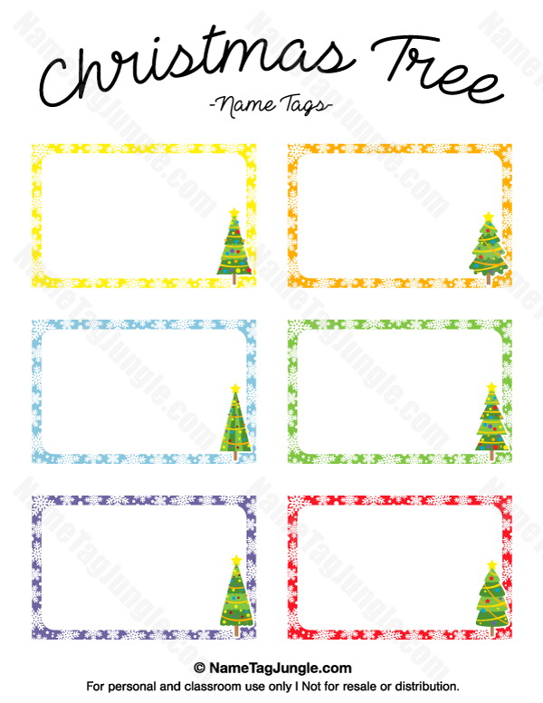 Free printable christmas tree name tags the template can also be used for creating items like for Christmas printable name tags