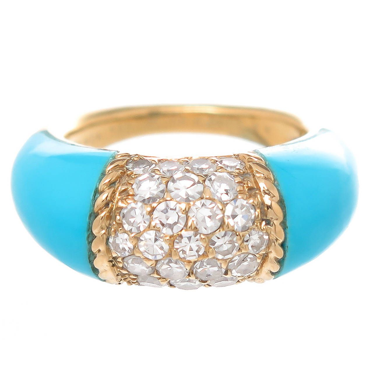 Van cleef u arpels turquoise diamond gold philippine ring