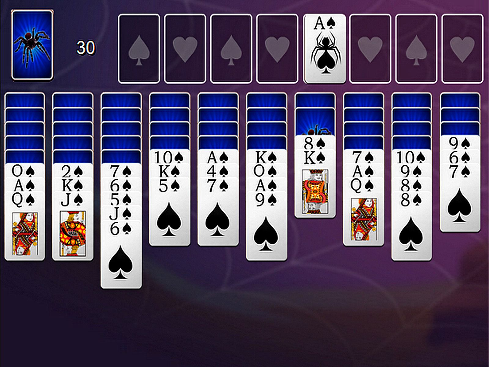 Spider Solitaire 1 Suit Make sequences of cards from King