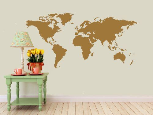 Detailed world map wall decal gold metallic measures 22 h detailed world map wall decal gold metallic measures 22 gumiabroncs Gallery
