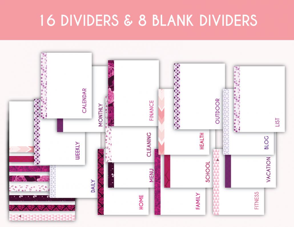 Free 16 dividers & 8 Blank Dividers Printable Planner ...