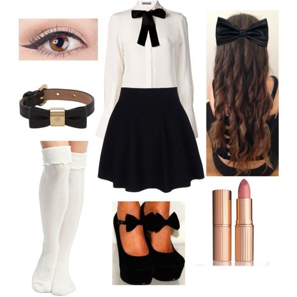 Black Bows by gutierrezgirl1 on Polyvore featuring Alexander McQueen, Wet Seal, Theory, Mulberry, H&M, Charlotte Tilbury, cute, bows and blackandwhite