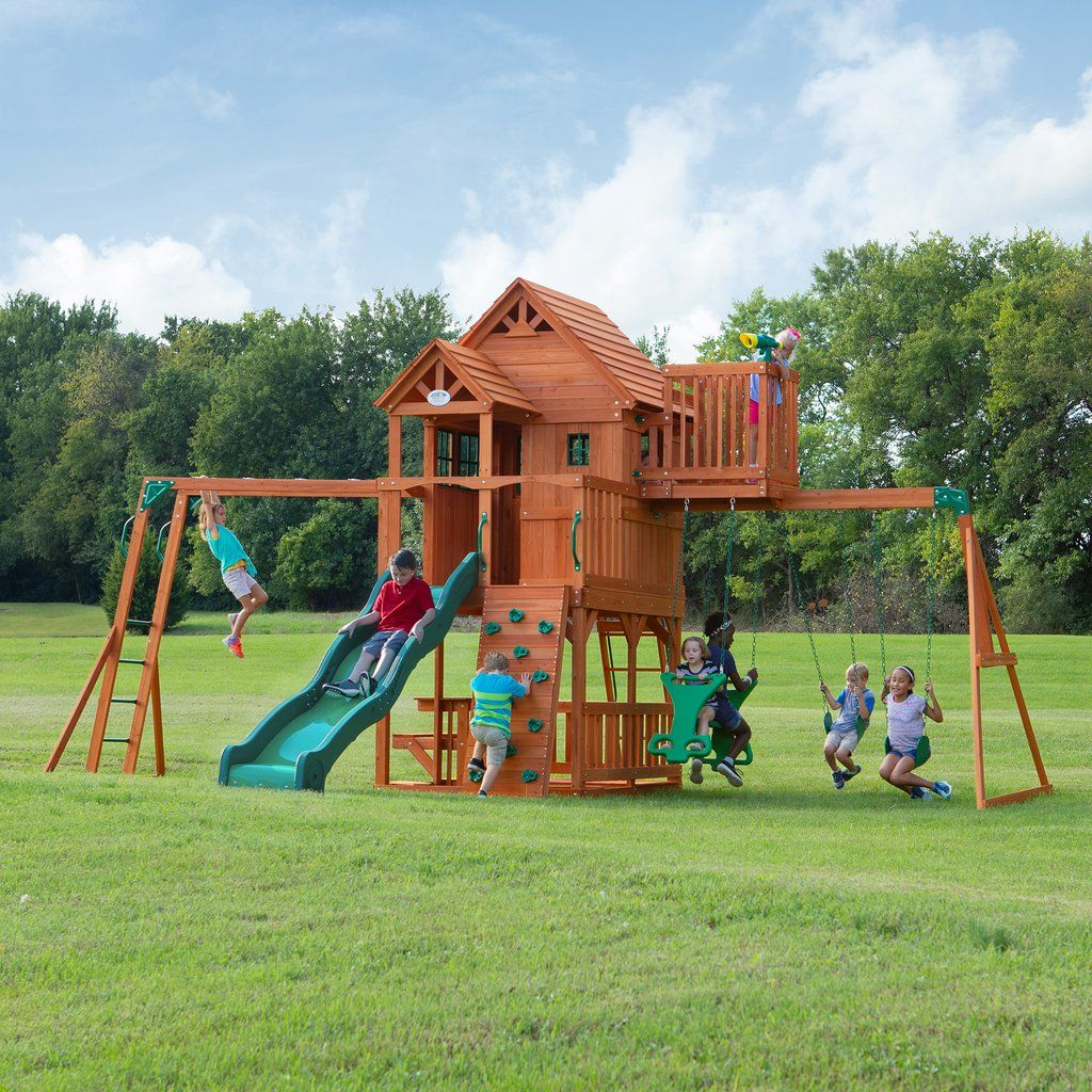Skyfort II Wooden Swing Set in 2020   Wooden swing set ...