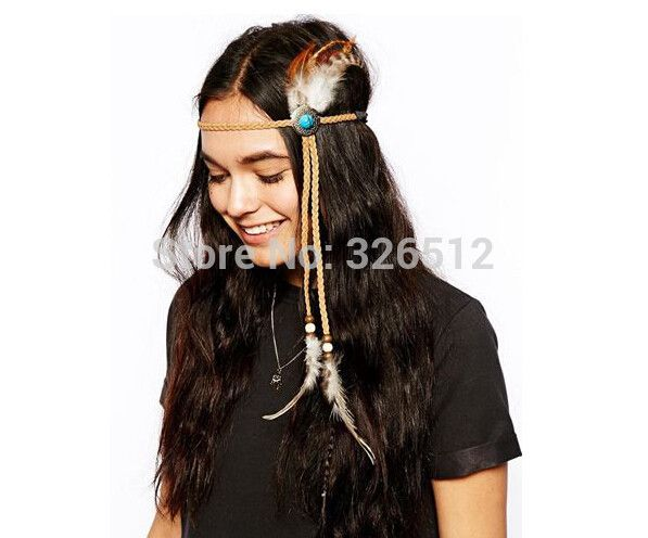 Indian Turquoise Bead Leather Crown Feather Navajo Zuni Native American Head Hair Dress Band Tie Jewelry