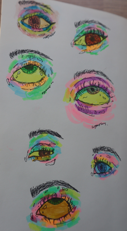 Highlighter Eyes Hippie Art Psychedelic Drawings Indie Drawings