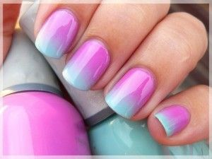 Ombre Nails  1. Paint your nails white and wait till  they're completely dry.  2. Chose two or three colours that would look good  together, and apply them to a make-up sponge.  3. Sponge the colour onto your nail.  4. Apply a top coat to blend the colours together.