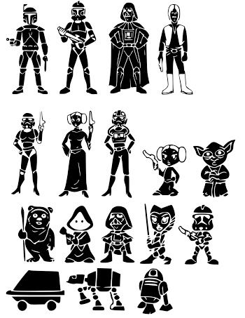 Siluetas de los Personajes de Star Wars. | Para Imprimir Gratis ...